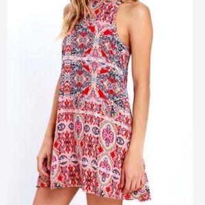 Lulus red paisley print sleeveless mini dress
